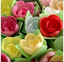 Вафельные цветы - Розы на трилистнике, Микс, 10шт. (10/8965)