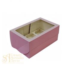 Упаковка с окном на 6 капкейков - Розовая, 16,5*25*h11см. (SP CUPO6B)