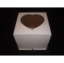 """Упаковка для торта с окном """"Сердечко"""" - Белая,30*30*25см. (SP 30*30*25)"""