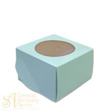 Упаковка c окном на 4 капкейка - Голубая, 16,5*16,5*H11СМ. (SP CUPO4C)