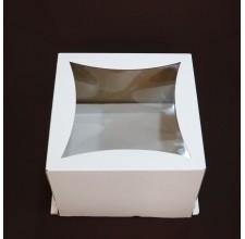 """Упаковка для торта с окном """"Ромб"""" - Белая,27*27*20см. (SP 27*27*20)"""