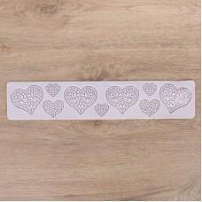 Рельефный силиконовый коврик для создания кружев - Сердца (2581438)