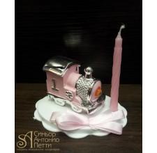 Фигурка - Паровозик со свечой, розовая (26159*В/p)