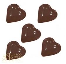 Форма для отливки шоколадных фигурок - Гладкие сердечки (90-1004)