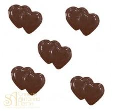 Форма для отливки шоколадных фигурок - Двойные сердечки (90-1015)