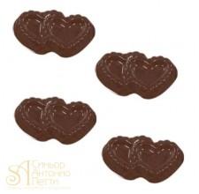 Форма для отливки шоколадных фигурок - Двойные сердца (90-1021)