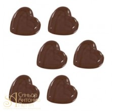 Форма для отливки шоколадных фигурок - Гладкие сердечки (90-1024)