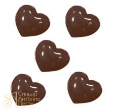 Форма для отливки шоколадных фигурок - Гладкие сердечки (90-1025)